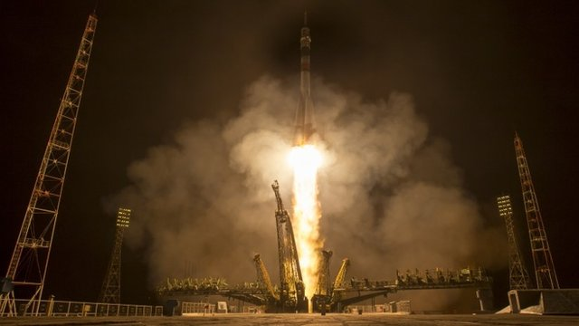 The Soyuz TMA-16M spacecraft is seen as it launches to the International Space Station