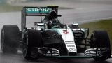 Nico Rosberg driving in the rain