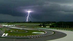 Lightning strike at Malaysian Grand Prix