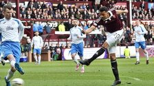 Osman Sow scores for Hearts against Queen of the South