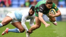 Tom Fowlie of London Irish is tackled by Noah Cato of Newcastle Falcons