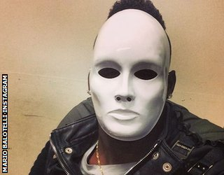 Mario Balotelli in white mask