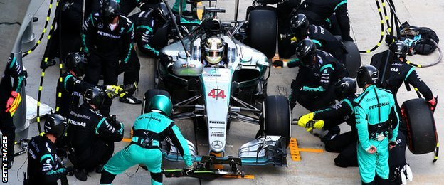Lewis Hamilton in the pits