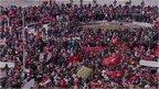 Tunisians march in protest against terrorism.