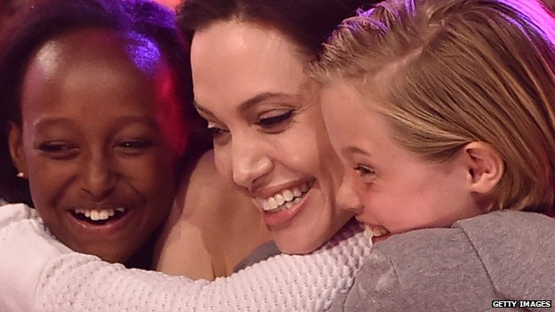 Angelina attended with daughters Zahara and Shiloh