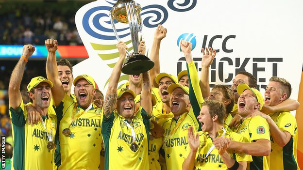 Australia with the World Cup trophy