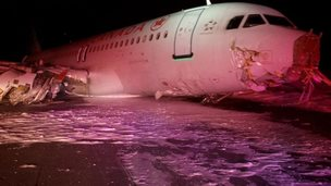Canadian plane on runway in Nova Scotia, 29 March