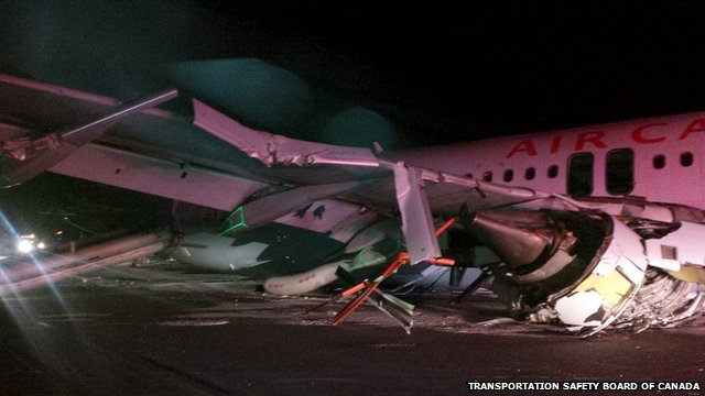 Night shot of damaged wing of Air Canada Airbus 320 which skidded of a runway at Halifax International airport
