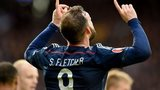 Scotland striker Steven Fletcher celebrates his goal against Gibraltar