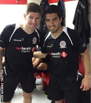 Luis Suarez and Steven Gerrard