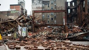 A debris-strewn street after a massive blast in New York
