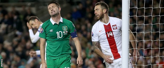 Robbie Keane shows his frustration at the Aviva Stadium