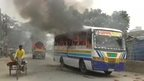 A bus on fire in Bangladesh