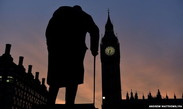 The sun rises behind the Palace of Westminster and the statue of Sir Winston Churchill