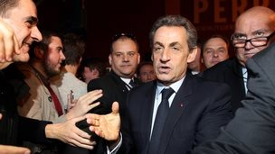 French ex-President Nicolas Sarkozy with UMP supporters