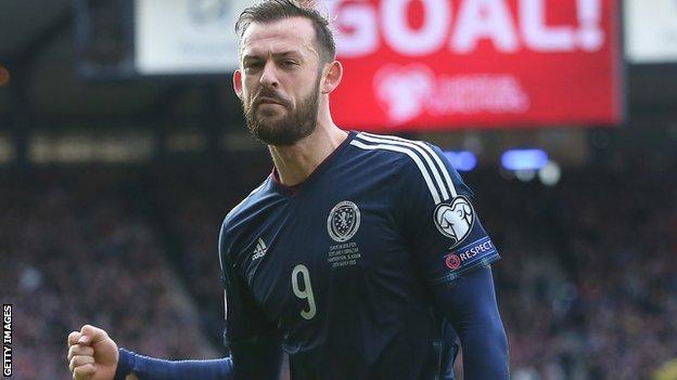 Steven Fletcher celebrates scoring for Scotland against Gibraltar