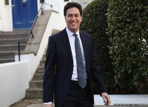 Leader of the Labour party Ed Miliband leaves his home