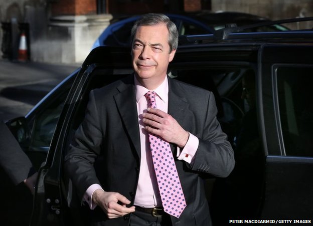 United Kingdom Independence Party leader Nigel Farage arrives in Westminster