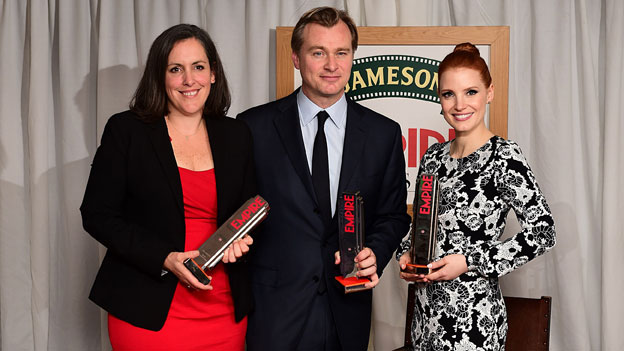 Interstellar director Christopher Nolan (centre) with producer Emma Thomas and Jessica Chastain