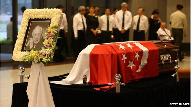 In this handout image provided by the Ministry of Communications and Information (MCI) of Singapore, the casket of the late Mr Lee Kuan Yew is seen at the University Cultural Centre, National University of Singapore on 29 March 2015 in Singapore