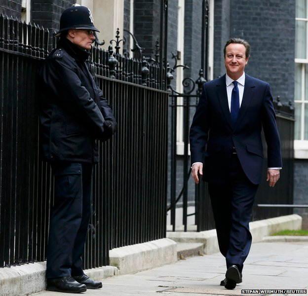 Britain's Prime Minister David Cameron leaves Number 10 Downing Street