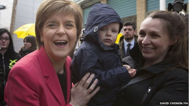 SNP leader Nicola Sturgeon on the General Election campaign trail in Glasgow Fort Shopping Park