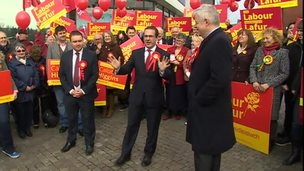 Owen Smith (centre) and Carwyn Jones (right) launch Labour's Welsh campaign