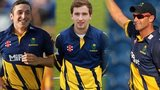 Glamorgan spin bowlers Andrew Salter, Kieran Bull, Dean Cosker