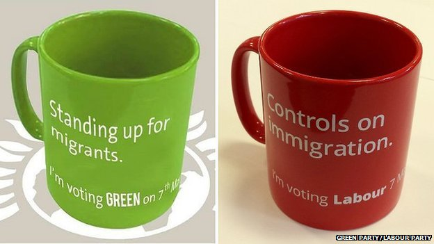 The Green Party mug (left) and the Labour Party mug (right)