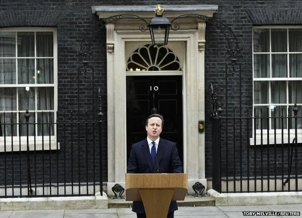 Britain's Prime Minister David Cameron speaks as he returns to Number 10 Downing Street