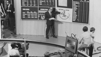 Robert McKenzie at the 'swingometer' in Election Studio One at BBC Television Centre, London, during the Election Results programme, BBC Election 1970