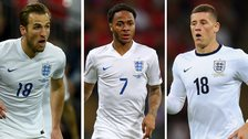 Harry Kane, Raheem Sterling and Ross Barkley