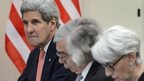 US Secretary of State John Kerry, US Secretary of Energy Ernest Moniz and US Under Secretary for Political Affairs Wendy Sherman wait for a meeting during Iran nuclear talks, on 30 March 2015 in Lausanne