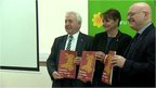 Leanne Wood with two other party members, all holding the manifesto