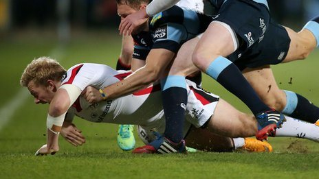 Stuart Olding suffered a serious knee injury at the start of Ulster's Pro12 win over Cardiff Blues