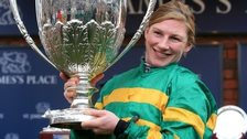 Nina Carberry after winning with On The Fringe at the Cheltenham Festival