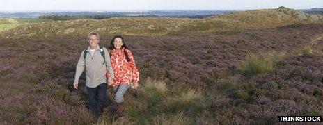 Couple walking through heather