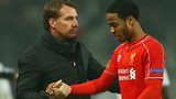 Raheem Sterling and Brendan Rodgers shake hands after Europa League exit