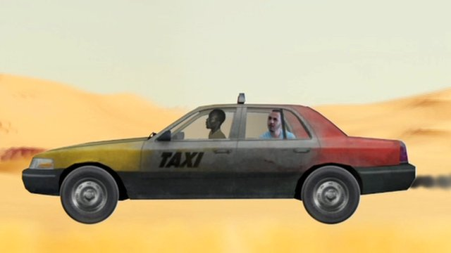 Animation of Badi in taxi