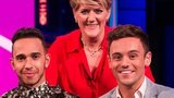 (l-r) Lewis Hamilton, Clare Balding and Tom Daley