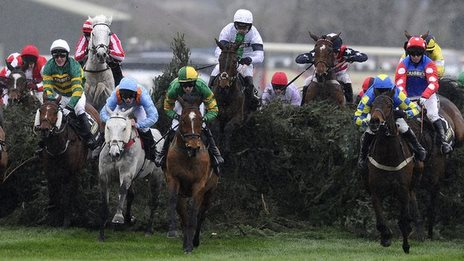 When will a female jockey ride the winning horse in England's Grand National steeplechase?