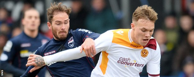 Ross County's Martin Woods battles with Motherwell's Lee Erwin