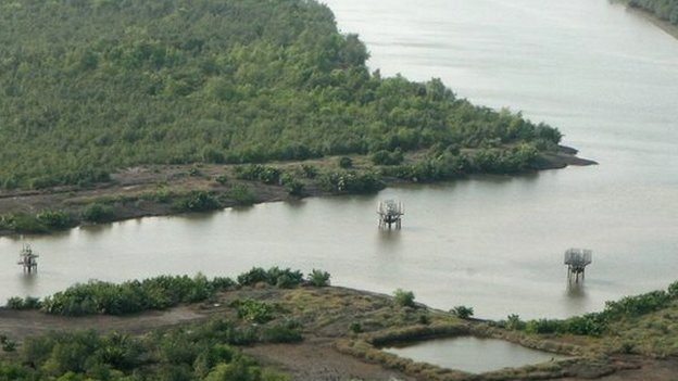 An oil well head is seen at mangrove swamps near Port Harcourt Nigeria - archive