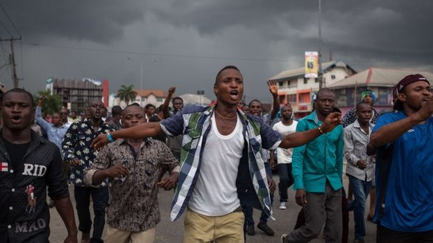 APC supporters in Port Harcourt during a demonstration calling for the cancellation of the presidential elections in the Rivers state on 29 March 2015