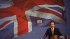 Prime Minister David Cameron unveils the Conservative party manifesto in Swindon, England
