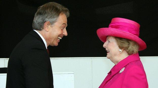 Tony Blair and Margaret Thatcher