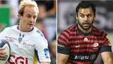 Nick Abendanon of Clermont Auvergne and Billy Vunipola of Saracens