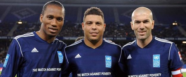 Didier Drogba, Ronaldo, Zinedine Zidane will be playing in the Match Against Poverty