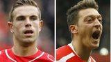 Aston Villa's Fabian Delph, Liverpool's Jordan Henderson, Arsenal's Mesut Ozil and Reading's Jamie Mackie