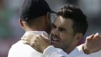 James Anderson is congratulated